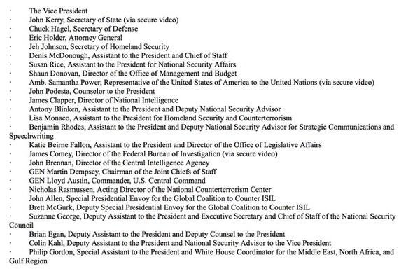 President's war council mtg wk of Oct 12