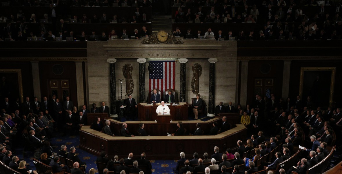 Pope Francis addresses a joint meeting of Congress at the U.S. Capitol in Washington Sept. 24. In the first such speech by a pope, he called on Congress to stop bickering as the world needs help. (CNS photo/Paul Haring) See POPE-CONGRESS Sept. 24, 2015.