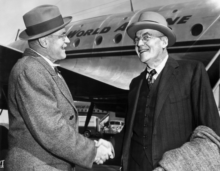 John Foster Dulles (R), greeted by his brother, Allan. 1948. Photo courtesy of AFP/AFP/Getty Images