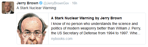 A Stark Nuclear Warning from William J Perry