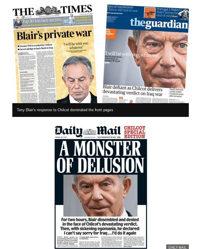 Blair dissembling, denying, defiant